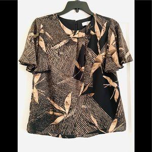 H Halston leaf print brown blouse XS